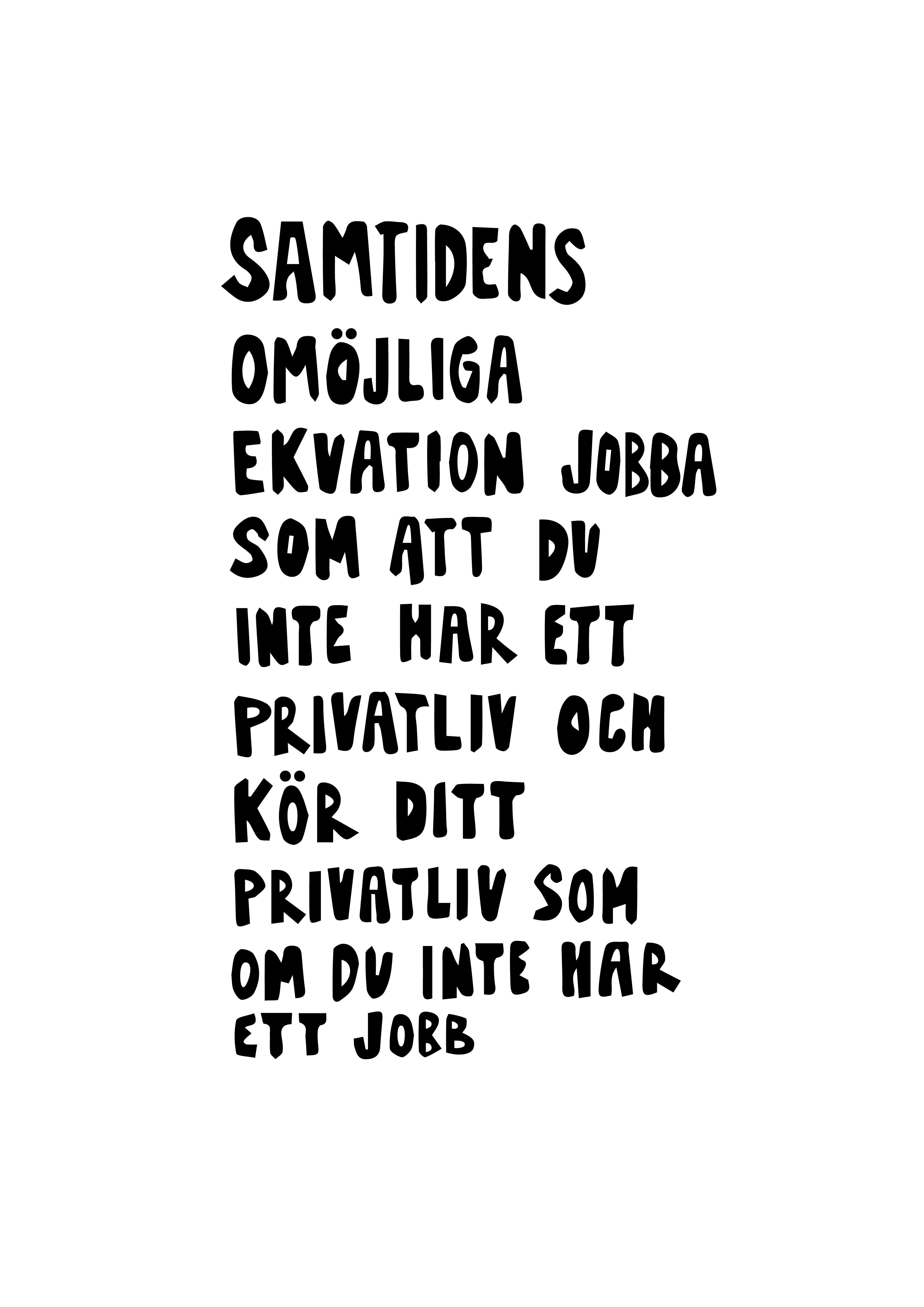 Poster - Samtidens omöjliga ekvation