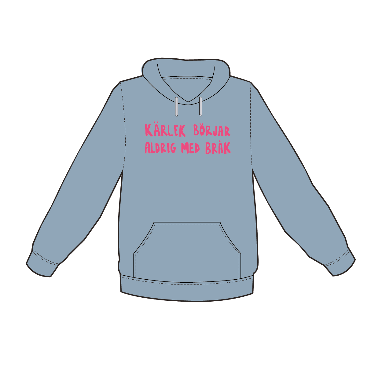 Blå hoodie i barnstorlek - Kärlek börjar aldrig med bråk