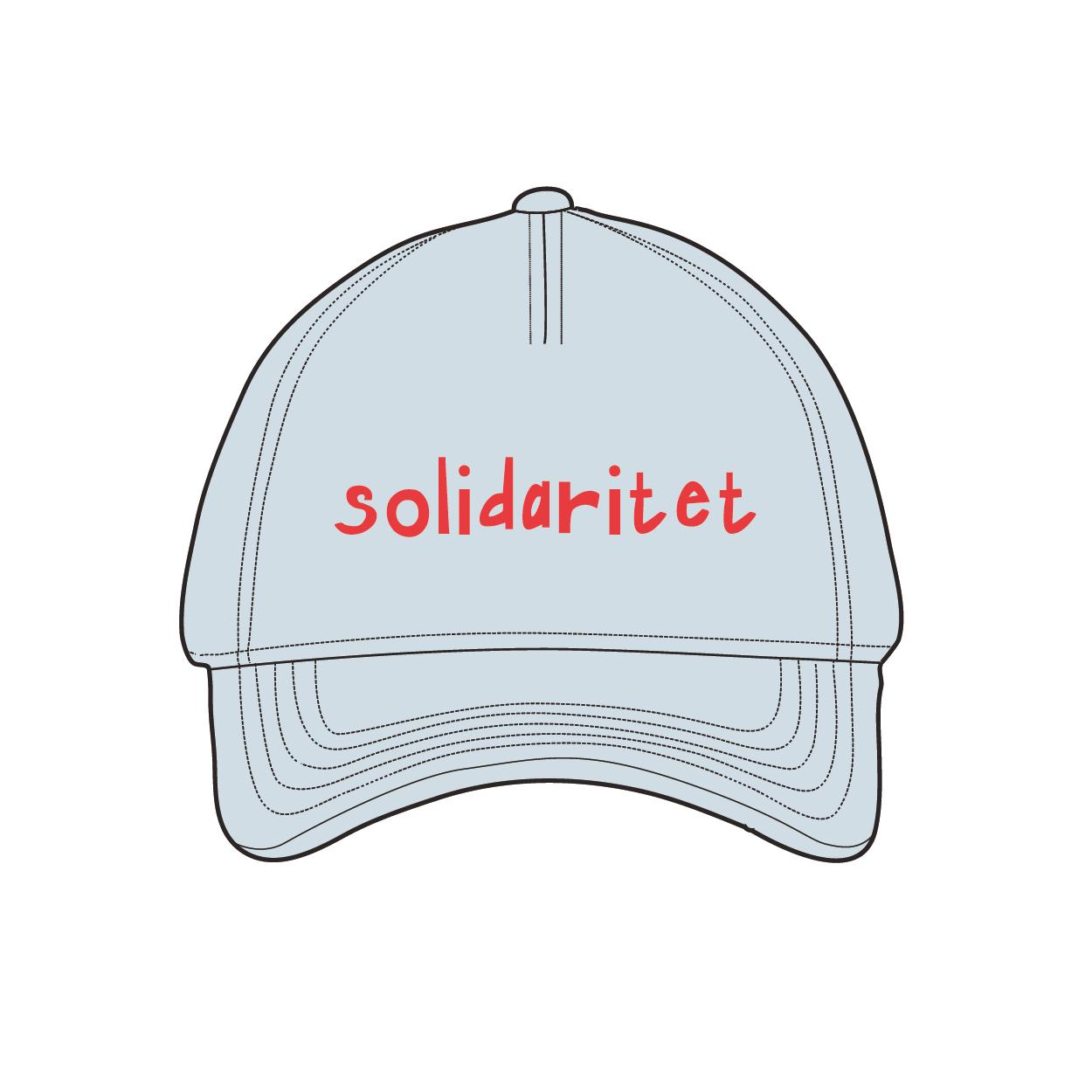 Blå keps med texten solidaritet