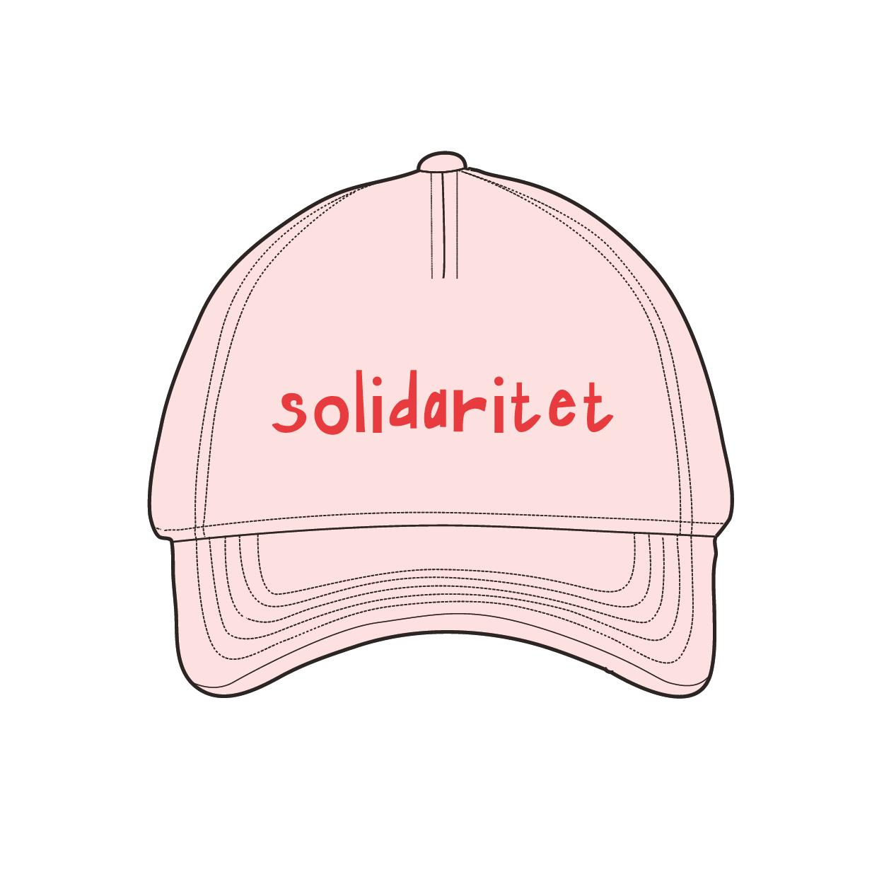 Pastellrosa keps med texten solidaritet