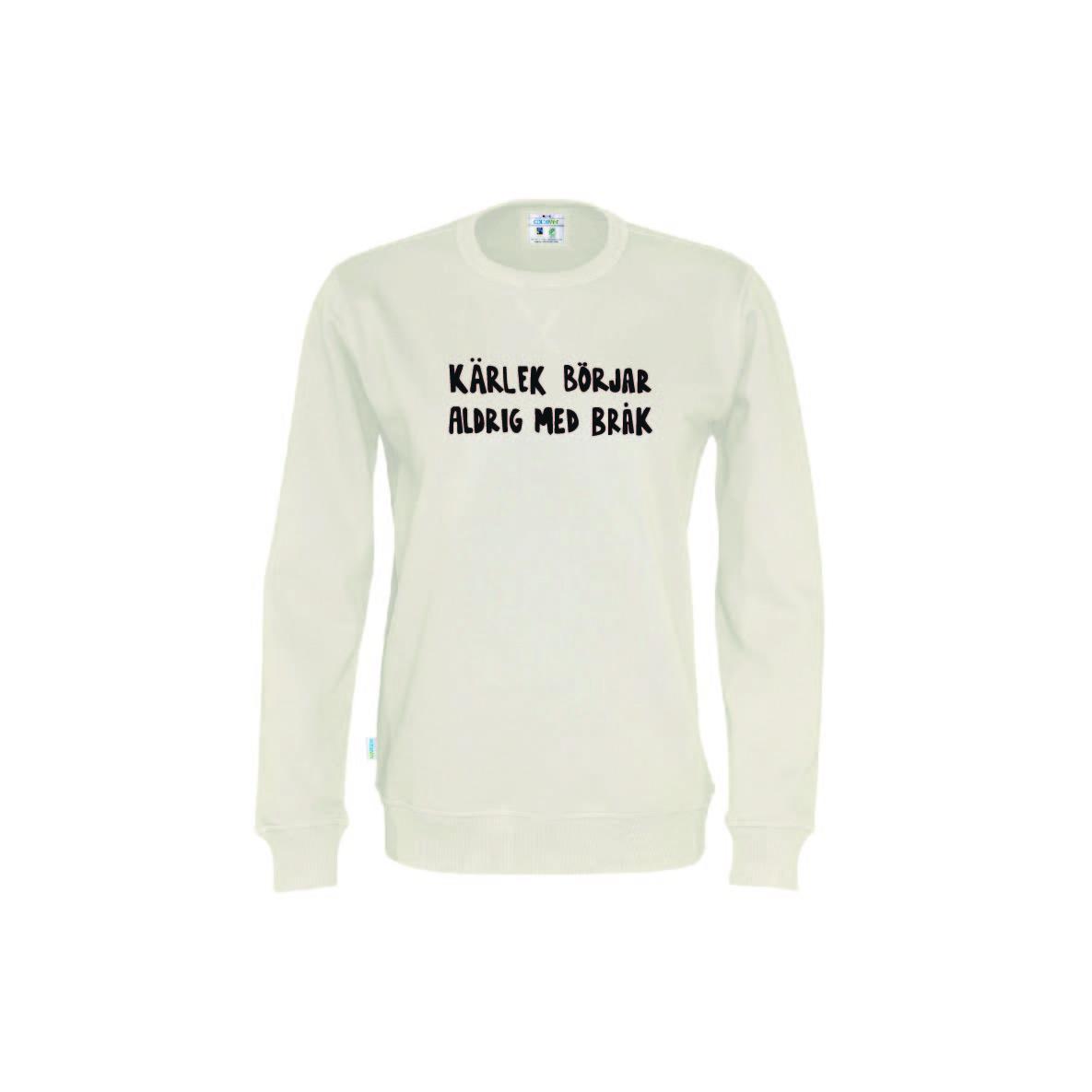 Ekologisk tröja i beige - Kärlek börjar aldrig med bråk