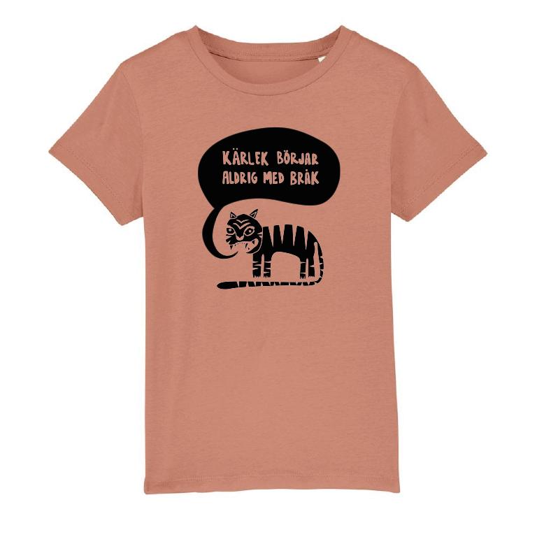 Ekologisk rosa t-shirt i barnstorlek - Kärlek börjar aldrig med bråk