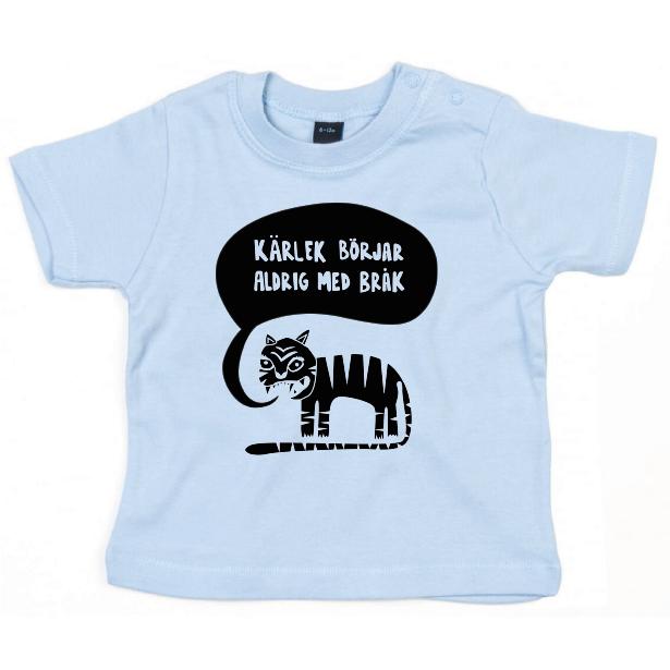 Ekologisk blå t-shirt till bebis - Kärlek börjar aldrig med bråk