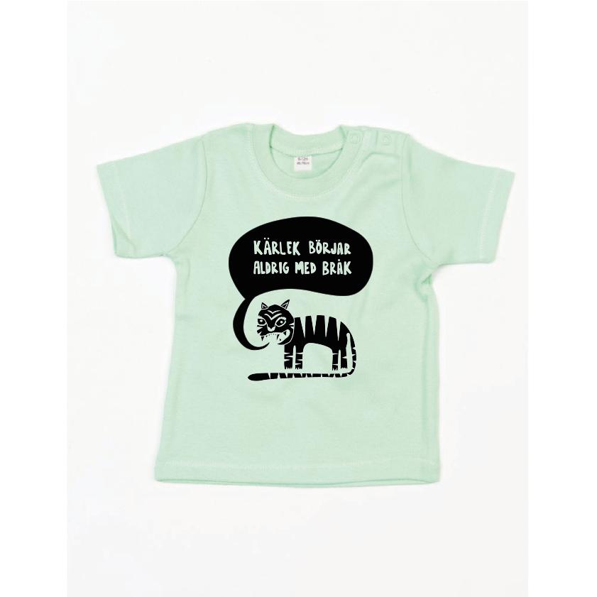Ekologisk grön t-shirt till bebis - Kärlek börjar aldrig med bråk