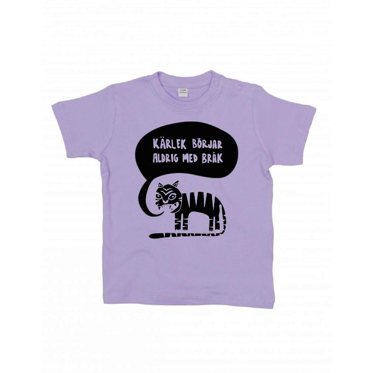 Ekologisk lila t-shirt till bebis - Kärlek börjar aldrig med bråk