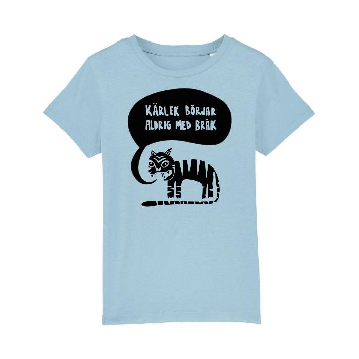 Ekologisk blå t-shirt i barnstorlek - Kärlek börjar aldrig med bråk
