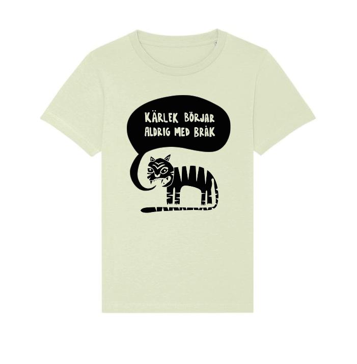 Ekologisk grön t-shirt i barnstorlek - Kärlek börjar aldrig med bråk