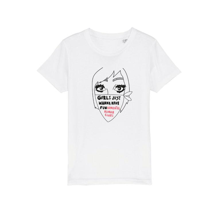 Ekologisk vit t-shirt i barnstorlek - Girls just wanna have fundamental human rights
